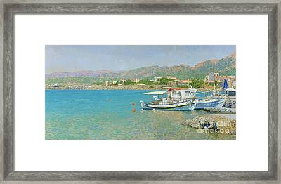 Malia Bay. Crete. Framed Print by Simon Kozhin