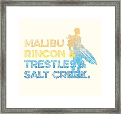 Malibu And Rincon And Trestles And Salt Creek Framed Print