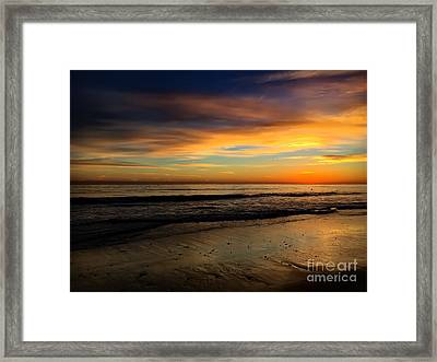 Malibu Beach Sunset Framed Print by Chris Tarpening