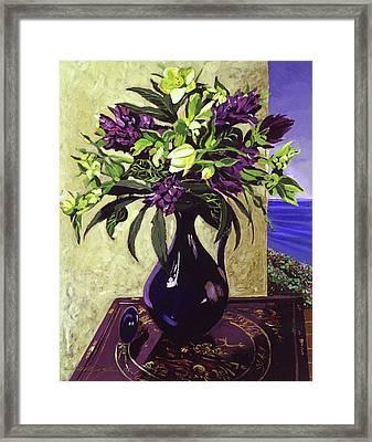 Malibu Hyacinths In Deep Blue Blue  Ceramic Framed Print