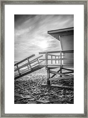 Malibu Lifeguard Tower #3 Black And White Photo Framed Print by Paul Velgos
