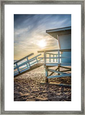 Malibu Lifeguard Tower #3 Sunset On Zuma Beach  Framed Print by Paul Velgos