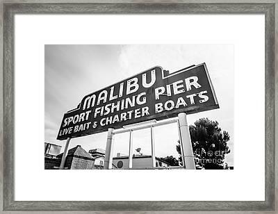 Malibu Pier Sign Black And White Photo Framed Print