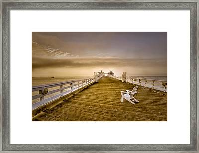 Malibu Pier Sunrise Foggy Morning Framed Print