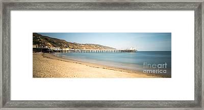 Malibu Pier Surfrider Beach Panorama Photo Framed Print by Paul Velgos