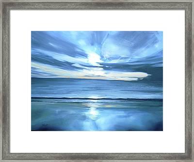 Malibu Sunset L Framed Print by Valentine Estabrook