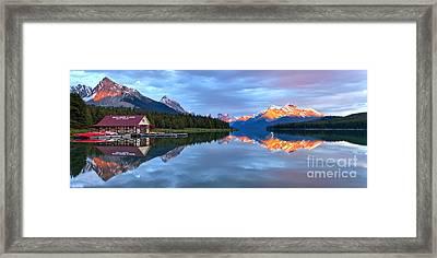 Maligne Lake Sunset Mountain Glow Framed Print