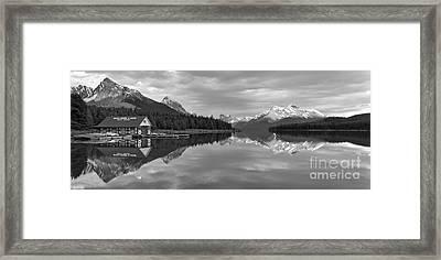 Maligne Lake Sunset Mountain Glow Black And White Framed Print