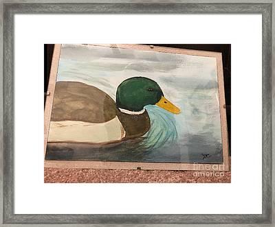 Framed Print featuring the painting Mallard by Donald Paczynski