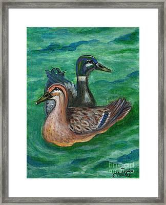 Mallard Ducks Framed Print by Anna Folkartanna Maciejewska-Dyba