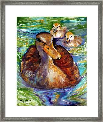 Mallard Mom And Ducklings Framed Print by Marcia Baldwin