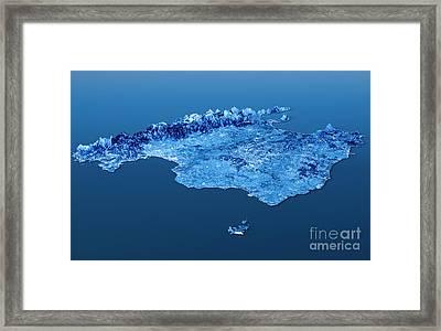 Mallorca Island Topographic Map 3d Landscape View Blue Color Framed Print