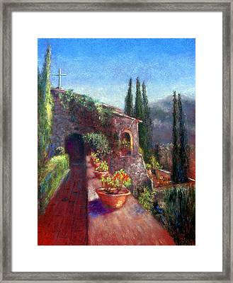 Mallorcan Monastery Framed Print by Shirley Leswick