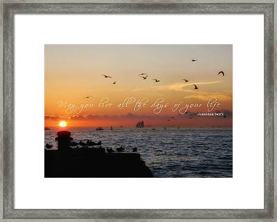 Mallory Square Sunset Quote Framed Print by JAMART Photography