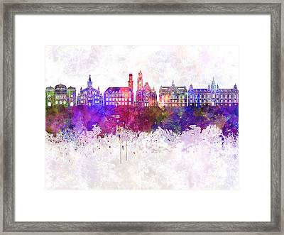 Malmo Skyline In Watercolor Background Framed Print by Pablo Romero