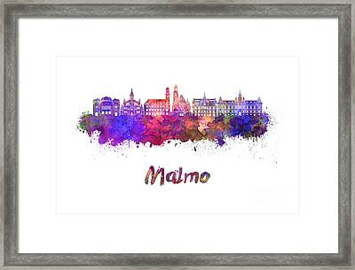 Malmo Skyline In Watercolor Framed Print by Pablo Romero