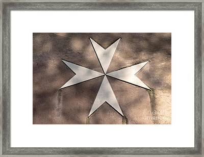Maltese Cross In Travertine Framed Print