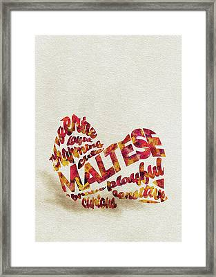 Maltese Dog Watercolor Painting / Typographic Art Framed Print