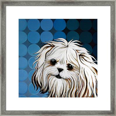 Framed Print featuring the painting Maltese Magic by Leanne WILKES