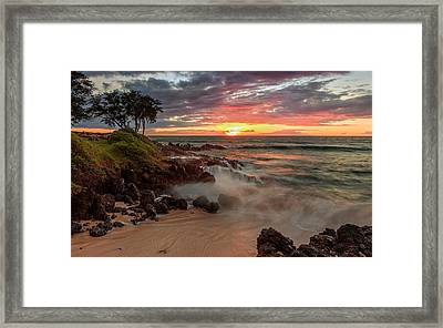 Framed Print featuring the photograph Maluaka Beach Sunset by Susan Rissi Tregoning