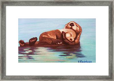 Mama And Baby Otter Framed Print