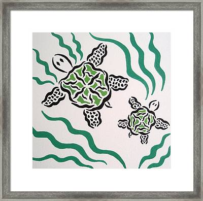 Framed Print featuring the painting Mama And Baby Sea Turtle by Beth Akerman
