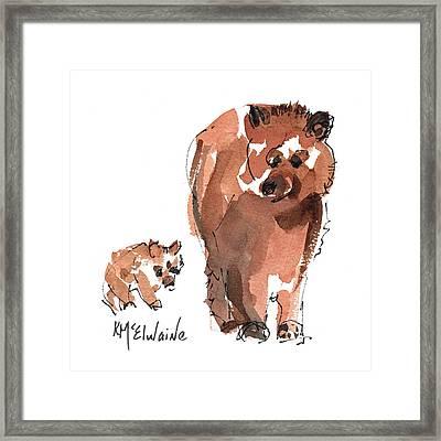 Mama And Baby Series Bear Framed Print