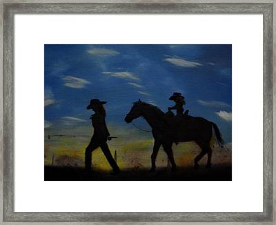 Mama And Daughter Going Fishing Framed Print by Edgar Verdin
