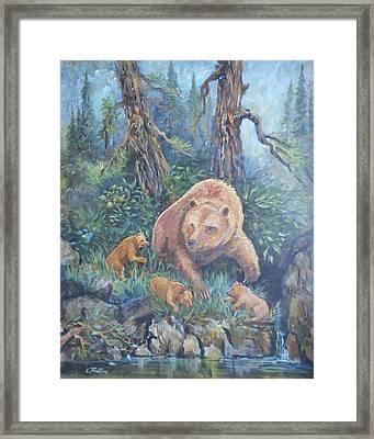 Mama Bear With Cubs Framed Print