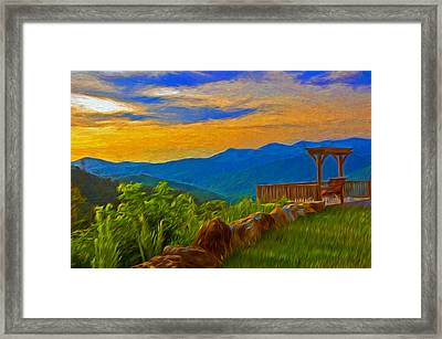 Blue Ridge Sunset From Mama Gertie's Hideaway Framed Print