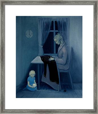 Mama Knitting Big Sister Home Framed Print by Tone Aanderaa
