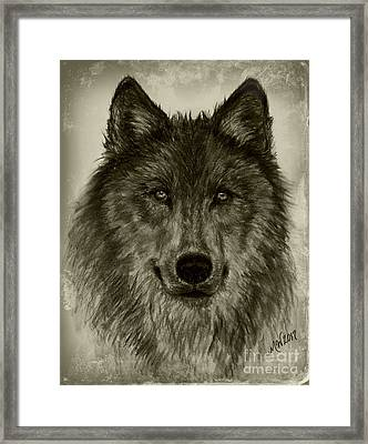 Mama Wolf Vintage Framed Print by Michelle Wolff