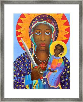 Mambo Mama Ezili Danto, Voodoo Goddess, Haiti New Orlean Black Madonna With Heart And Knife Framed Print by Magdalena Walulik