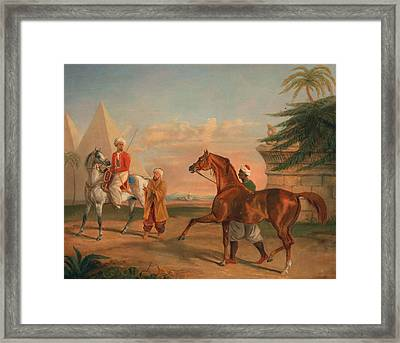 Mameluke Purchasing An Arabian Stallion Framed Print by George Henry Laporte