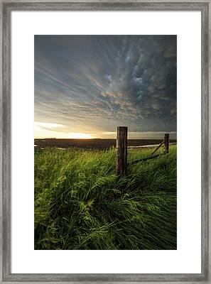 Framed Print featuring the photograph Mammatus Sunset by Aaron J Groen