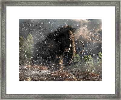 Mammoth In A Blizzard Framed Print