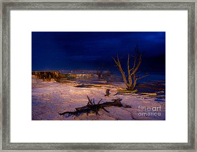 Mammoth Upper Terrace Light Painted V1 Framed Print