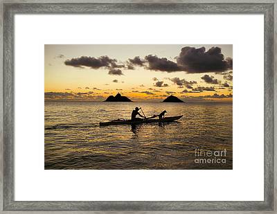 Man And Dog In Canoe Framed Print by Dana Edmunds - Printscapes