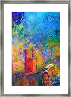 Framed Print featuring the painting Man And Horse On A Journey by Claire Bull