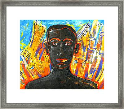 Man And The City Framed Print by Rollin Kocsis