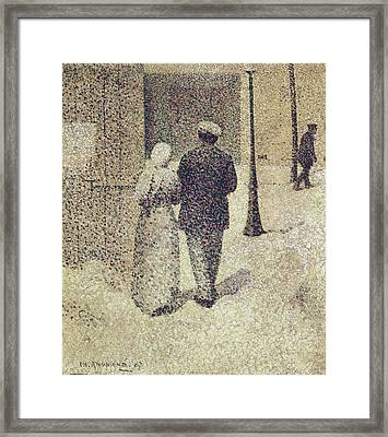 Man And Woman In The Street Framed Print