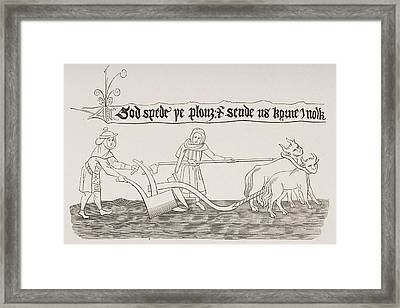 Man And Woman Ploughing Field Miniature Framed Print by Vintage Design Pics