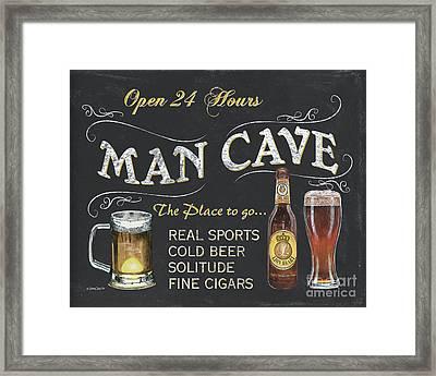 Man Cave Chalkboard Sign Framed Print by Debbie DeWitt