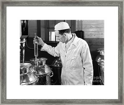 Man Checking Milk Temperature, C.1930s Framed Print