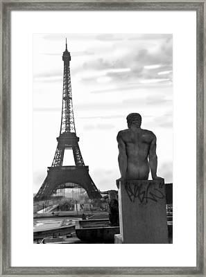Man Contemplates The Eiffel Tower Framed Print by Brett Wexler