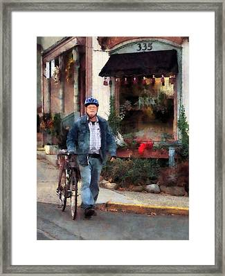 Man Crossing Street With Bicycle Framed Print