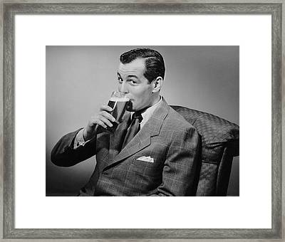 Man Drinking Beer Framed Print by George Marks
