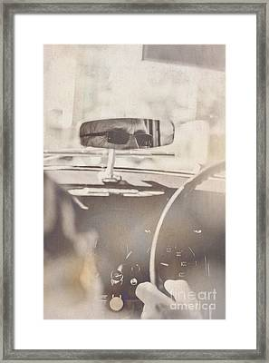 Man Driving Vintage Car Framed Print by Jorgo Photography - Wall Art Gallery