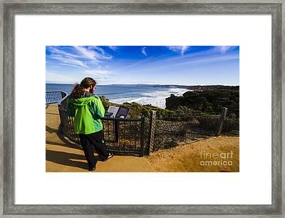 Man Enjoying Scenic View Of Fairhaven Surf Beach Framed Print