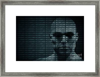Man Face Blended With Binary Code Digits. Concept Of Hacker, Data Protection Etc. Framed Print by Michal Bednarek